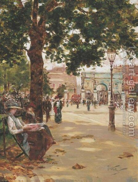 Marble Arch, Speakers Corner, London by Count Girolamo Pieri Nerli - Reproduction Oil Painting