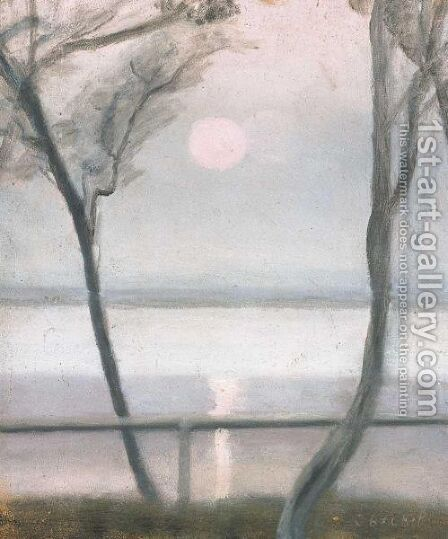 Moonlight And Calm Sea by Clarice Beckett - Reproduction Oil Painting