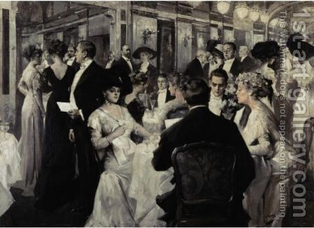 An Elegant Soiree by Albert B. Wenzell - Reproduction Oil Painting