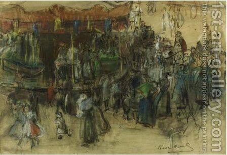 Carousel, Street Fair, Paris by Isaac Israels - Reproduction Oil Painting