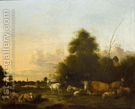 A Landscape With Cattle, Sheep And Goats In The Foreground, A Village Beyond by Albert-Jansz. Klomp - Reproduction Oil Painting