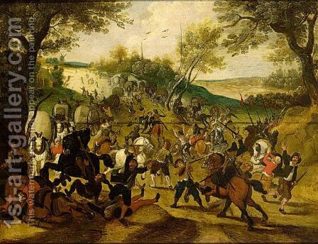 A Cavalry Skirmish by (after) Sebastian Vrancx - Reproduction Oil Painting