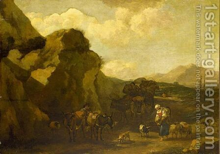 An Italinate Landscape With Shepherds by (after) Nicolaes Berchem - Reproduction Oil Painting