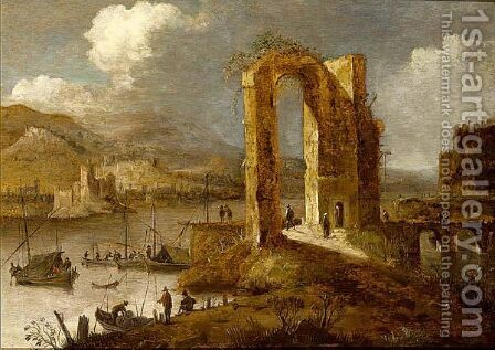 A River Landscape With Travellers Amongst Ruins by Dirck Verhaert - Reproduction Oil Painting