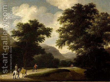 A Mountainous Wooded Landscape With Travellers On A Path by (after) Anthonie Waterloo - Reproduction Oil Painting
