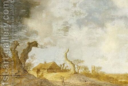 A Dune Landscape With Figures Conversing Near Tree Trunks, A Farm Beyond by Anthony Jansz van der Croos - Reproduction Oil Painting
