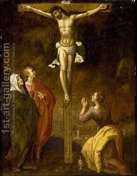 Christ On The Cross With St John The Baptist, The Virgin Mary And Mary Magdalene by (after) Karel Van Mander I - Reproduction Oil Painting