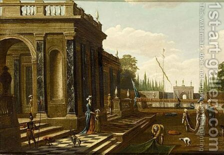 Elegant Figures Walking On And Near A Classical Terrace by (after) Jacob Balthasar Peeters - Reproduction Oil Painting