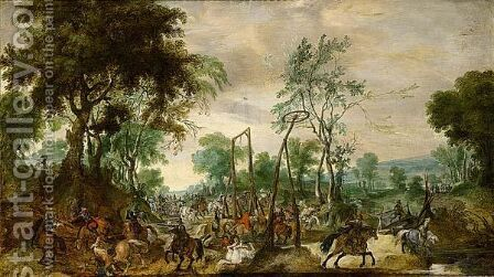 Wooded Landscape With A Calvalry Engagement by (after) Pieter Snayers - Reproduction Oil Painting