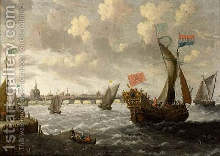 A States Yacht, A Kaag And Other Ships In A Stiff Breeze, A Town Beyond by Cornelis Mahu - Reproduction Oil Painting