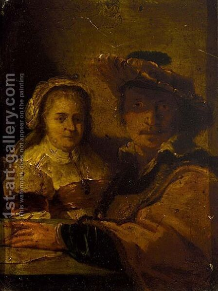 A Selfportrait Of Rembrandt And His Wife Saskia by (after) Harmenszoon Van Rijn Rembrandt - Reproduction Oil Painting