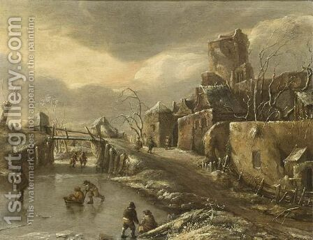 A Winterlandscape With Skaters On The Ice, A Town Beyond by (after) Jan Van De Cappelle - Reproduction Oil Painting