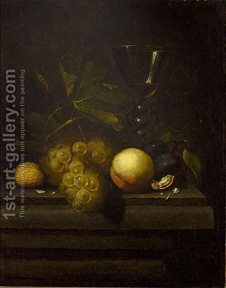 A Still Life With Walnuts, A Peach, Prunes, Grapes And A Glass All On A Wooden Table by (after) Johannes Borman - Reproduction Oil Painting