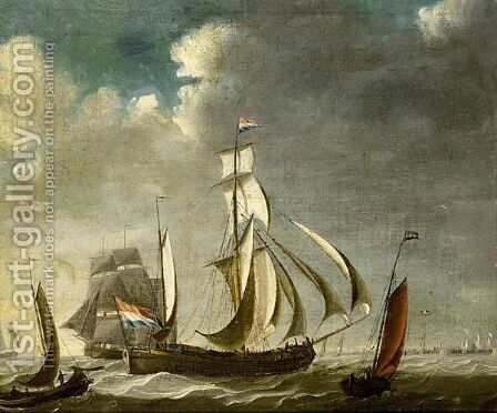 A Watership With A Small Kaag Alongside And Other Vessel Astern by (after) Engel Hoogerheyden - Reproduction Oil Painting