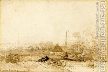 Figures Resting In A River Landscape by Jan Hendrik Weissenbruch - Reproduction Oil Painting