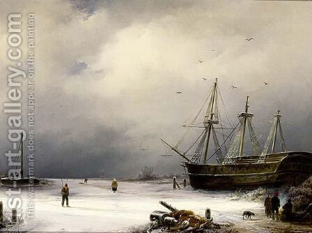 A Three-Master In A Winter Landscape by Anton Braakman - Reproduction Oil Painting