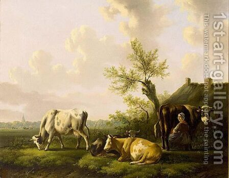 Milking Time by Albertus Verhoesen - Reproduction Oil Painting