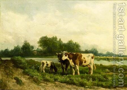 Cattle Grazing In A River Landscape by Hendrik Savrij - Reproduction Oil Painting