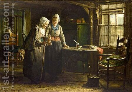 Grandmother's Visit by Hendrik Valkenburg - Reproduction Oil Painting