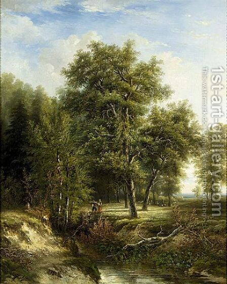 Figures On A Path In A Wooded Landscape by (after) Hermanus Jan Hendrik Rijkelijkhuysen - Reproduction Oil Painting