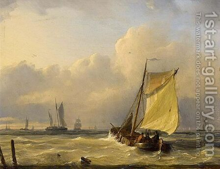 Dutch Barge And Other Vessels Off Coast by Dutch School - Reproduction Oil Painting