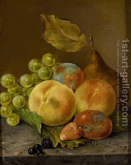 Still Life With Grapes, Peaches And A Prune by Dirk Jan Hendrik Joosten - Reproduction Oil Painting