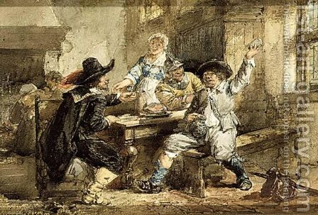 Men Smoking And Eating In An Inn by Herman Frederik Carel ten Kate - Reproduction Oil Painting