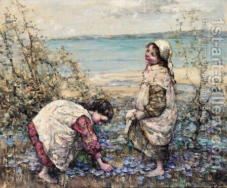 Collecting Violets At Brighouse Bay by Edward Atkinson Hornel - Reproduction Oil Painting