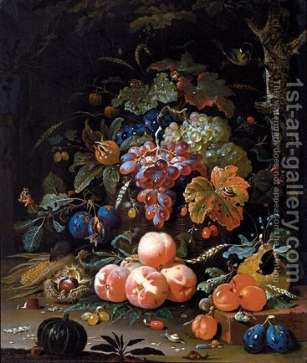 A Still Life Of Red And White Grapes In A Basket by Abraham Mignon - Reproduction Oil Painting