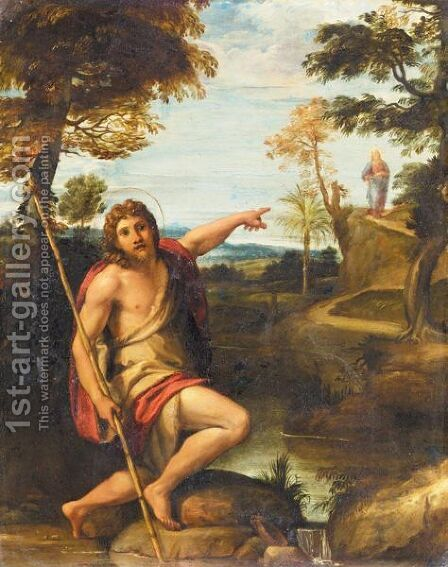Saint John The Baptist In A Landscape Pointing At The Figure Of Christ by Annibale Carracci - Reproduction Oil Painting