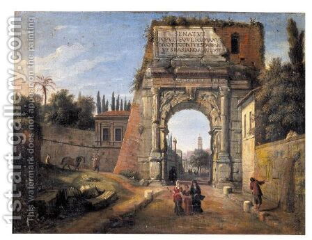 Rome, A View Of The Arch Of Titus With Figures Strolling Amongst Ruins by Caspar Andriaans Van Wittel - Reproduction Oil Painting