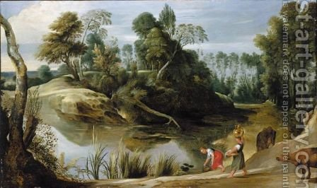 Landscape With Two Milkmaids At The Edge Of A Pond by (after) Sir Peter Paul Rubens - Reproduction Oil Painting