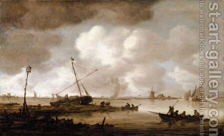 An Estuary Scene With A Fishing-Boat In The Foreground, And Figures Caulking A Small Dutch Vessel Beyond by Jan van Goyen - Reproduction Oil Painting