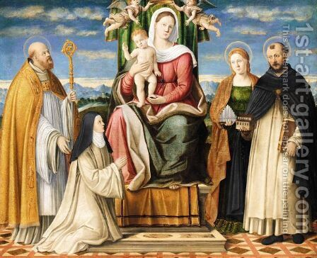 The Holy Family Enthroned With Saints Dominic, Cecilia, Augustine And A Dominican Nun by (after) Girolamo Da Santacroce - Reproduction Oil Painting