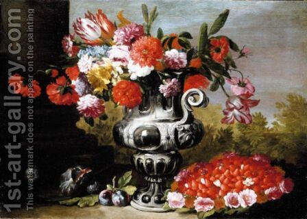 A Still Life, With Tulips, Carnations, Daffodils And Other Flowers In A Metallic Urn On A Stone Ledge by (after) Gaetano Cusati - Reproduction Oil Painting