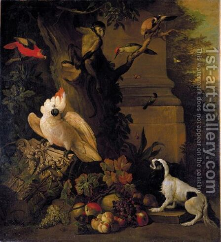 Still Life With Parrots, A Jay, A Woodpecker And A Finch, Together With A Spaniel And Various Fruits In A Parkland Setting by (after) Jakob Bogdany - Reproduction Oil Painting