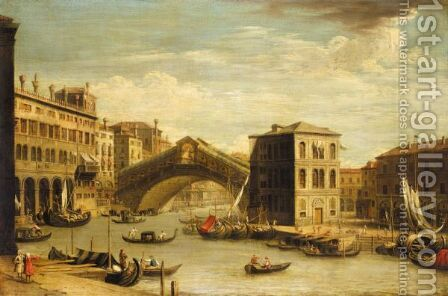 Venice, A View Of The Rialto Bridge From The North by (after) (Giovanni Antonio Canal) Canaletto - Reproduction Oil Painting