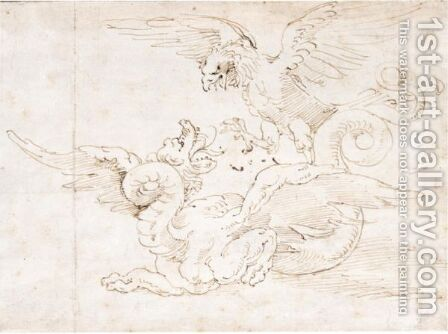 A Dragon Attacked From Above By An Eagle by (after) Perino Del Vaga (Pietro Bonaccors) - Reproduction Oil Painting