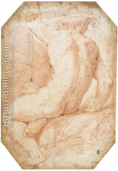 Seated Male Nude Seen From Behind by (after) Cristoforo Pomarancio (Roncalli) - Reproduction Oil Painting