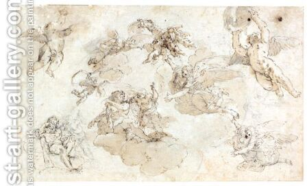 A Sheet Of Studies For A Ceiling Decoration With Hercules by Domenico Maria Canuti - Reproduction Oil Painting