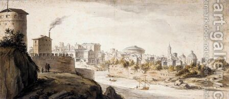 View Of Rome, Seen Across The Tiber From The Monte Gianicolo by Adriaen van Nieulandt - Reproduction Oil Painting