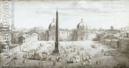 View Of Piazza Del Popolo by Caspar Andriaans Van Wittel - Reproduction Oil Painting