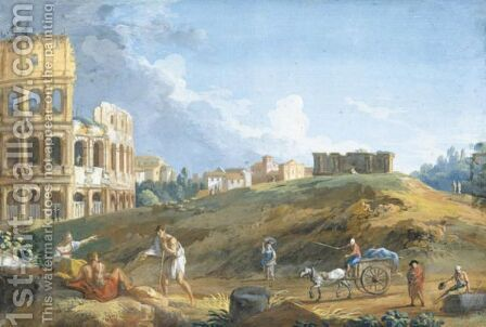 View Of The Colosseum With Travellers In The Foreground by Giovanni Battista Busiri - Reproduction Oil Painting