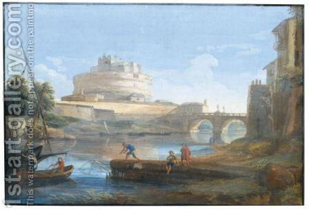 View Of Castel Sant' Angelo With Figures Fishing In The Tiber In The Foreground by Giovanni Battista Busiri - Reproduction Oil Painting