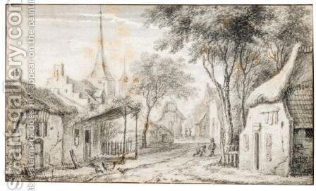 A Village Street, With Children Playing And Chickens To The Left by Adriaen Hendricksz Verboom - Reproduction Oil Painting