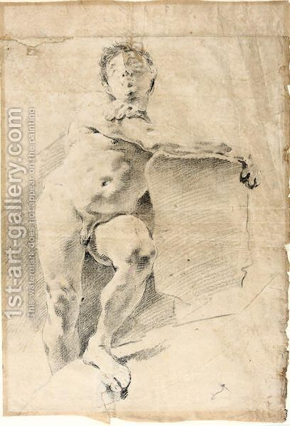 Seated Male Nude by (after) Giovanni Battista Tiepolo - Reproduction Oil Painting