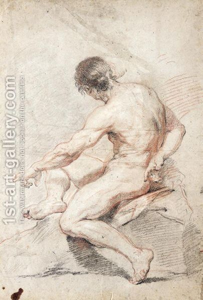 Seated Male Nude, Turned In Profile To The Left by (after) Charles-Joseph Natoire - Reproduction Oil Painting