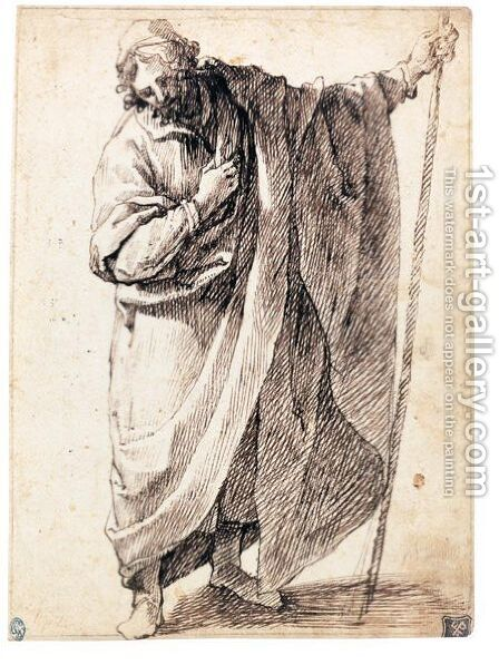 A Standing Figure Of A Man Wearing A Cloak And Holding A Stick by Matteo Rosselli - Reproduction Oil Painting