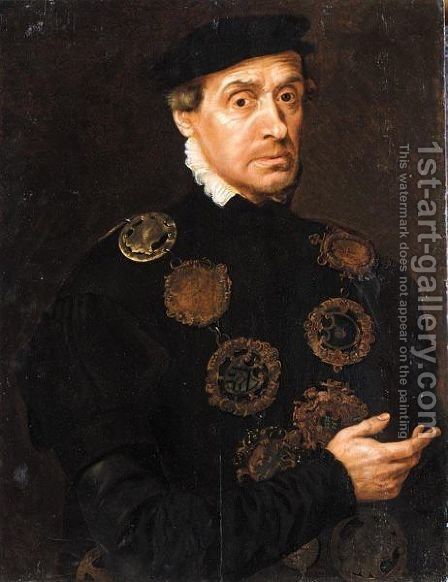 Portrait Of A Gentleman, Half Length, Wearing Black With A Chain Of Guild Buckles Including That Of A Goldsmith's Company by (after) Adriaen Thomas Key - Reproduction Oil Painting
