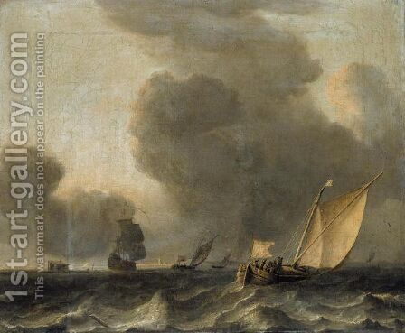 Two Dutch Smalships And A Man-O-War Off The Coast In Stormy Weather by Arnout Smit - Reproduction Oil Painting